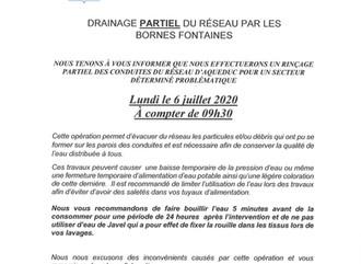 AVIS IMPORTANT - DRAINAGE PARTIEL DU RÉSEAU D'AQUEDUC - SECTEUR DÉTERMINÉ PROBLÉMATIQUE
