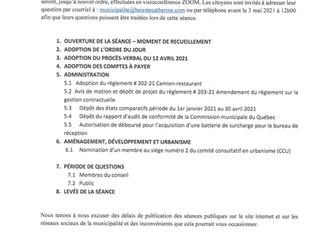 AVIS PUBLIC - SÉANCE ORDINAIRE DU 3 MAI 2021