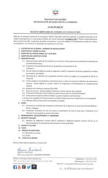 Avis public - Séance ordinaire du conseil 5 juillet 2021
