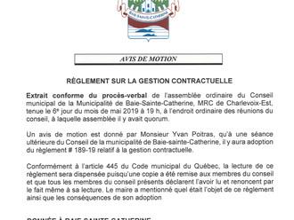 Avis de motion - Règlement municipal #189-19 relatif à la gestion contractuelle