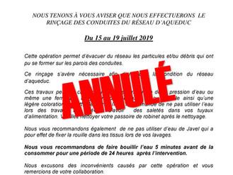 AVIS PUBLIC - Drainage et Rinçage du réseau par les bornes fontaines sera reporté à l'automne