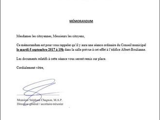 AVIS DE CONVOCATION - Conseil municipal - Assemblée Septembre 2017