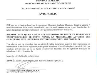 AVIS PUBLIC - REPORT DE LA DATE DE RETRAIT DES GARAGES HIVERNAUX EN TOILE