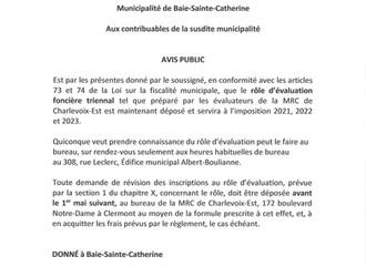 Rôle d'évaluation foncière triennal - 2021, 2022, 2023