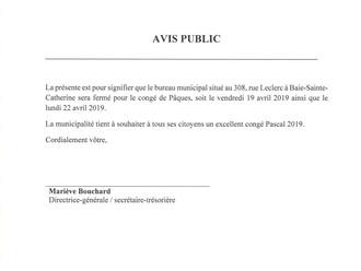 AVIS PUBLIC - Fermeture de l'Hôtel de Ville - Congé Pascal 2019