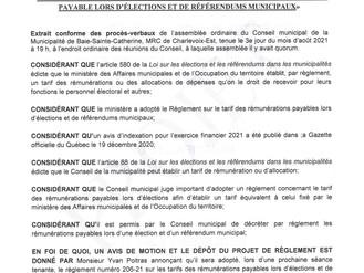 AVIS DE MOTION ET DÉPÔT DE PROJET 206-21 sur les tarifs des rémunérations payables lors d'élections