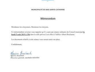 Mémorandum - Séance du Conseil municipal - 5 août 2019