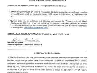 PROMULGATION DU RÈGLEMENT 205-21 Imposition de droits supplétifs en matière de mutation immobilière