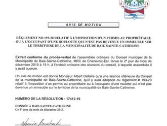 Avis de motion - Règlement no. 193-20