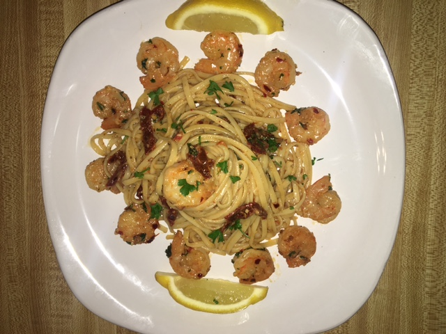 Sun dried tomato Shrimp Scampi with fresh squeezed lemon