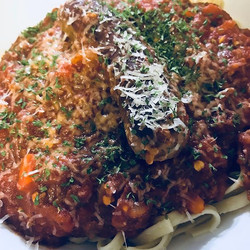 Spaghetti with Spicy Italian sausage