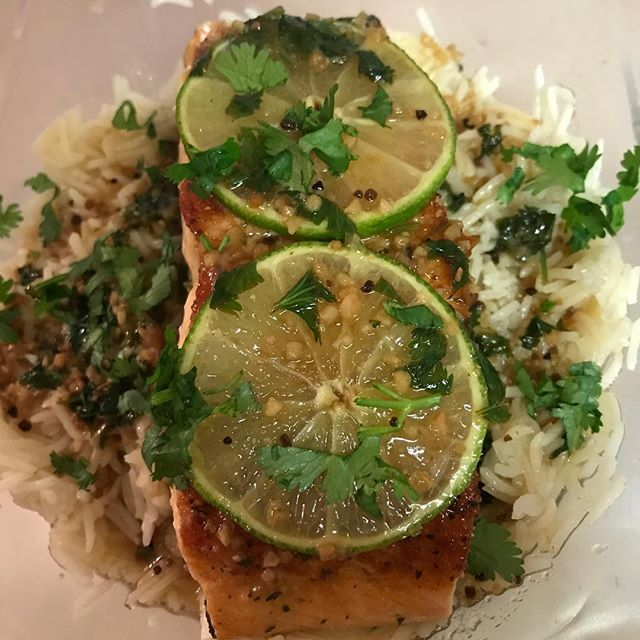 Cilantro Lime Salmon over basmati rice