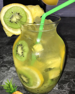 Homemade Kiwi Pineapple lemonade with Bacardi