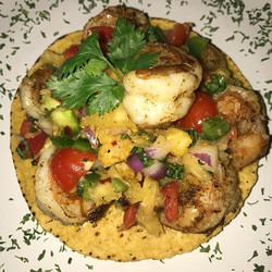 Jerk Shrimp Tostada with a homemade Pineapple Salsa