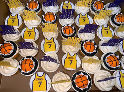 Lakers Baby Shower Themed Cupcakes (bask