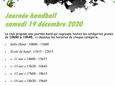 Journée Handball, samedi 19 décembre