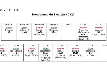 Planning matchs 03 octobre 2020