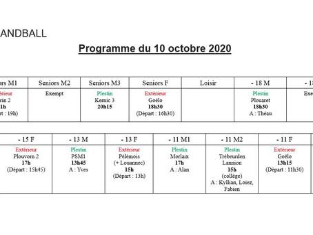 Planning matchs 10 octobre 2020
