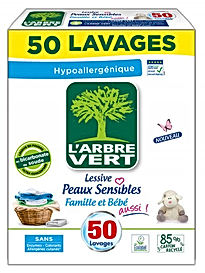 Lessive poudre, Peaux Sensibles, écologique 2.5kg l'Arbre Vert