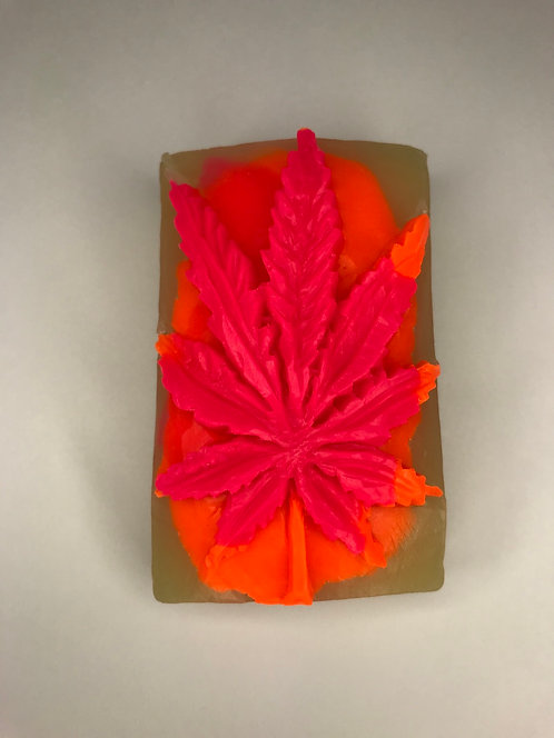 Pink/Orange/Clear Weed Leaf