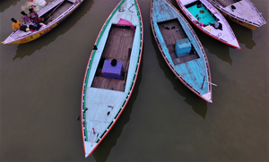 The striking colors of these boats came up when I was desperately trying to maneuver my Mavic Pro 2 to land, batteries exhausted, any place other than the muddy waters of the Ganges.  In the process, I ended up crash-landing the drone on the far side of the river and launched a process of search and rescue that was lucky enough to locate the drone with the help of some local fishermen.