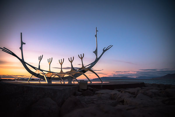 Solfar or Sun Voyager is a gleaming steel sculpture representing a Viking long-ship in Reykjavik, Iceland