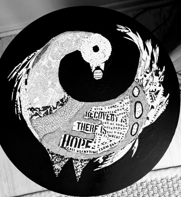 Round collage black and white Sankofa table top