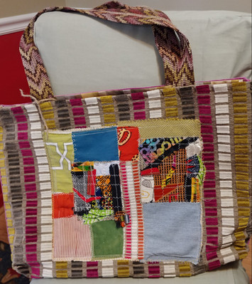 Detail of  purple patchwork large tote bag