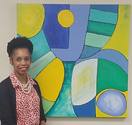 Sandra in front of commissioned piece