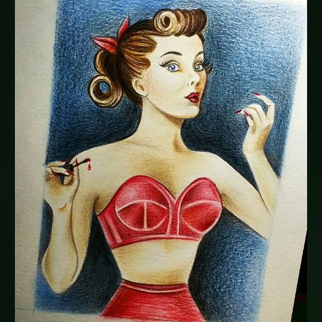 Testing out my new #polychromos colouring #pencils 💋💋💋#vintagepinup #rednails #pinup #pinuptattoo