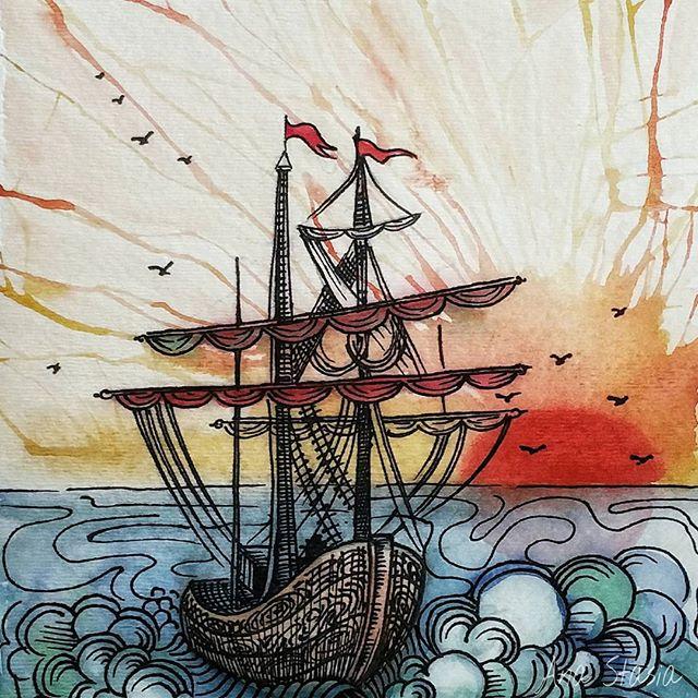 🌊#watercolour #ship #shippainting #shipdrawing #aquarelle #painting #paint #art #sketch #draw #draw