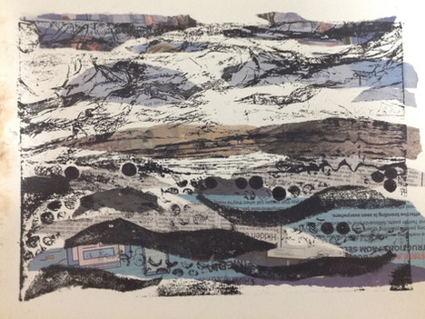 Collograph Print and Newspaper Collage