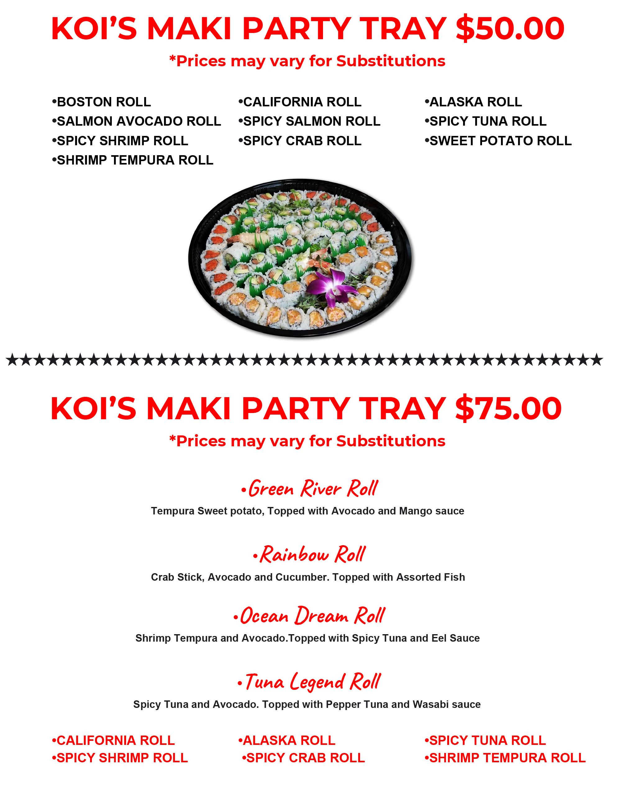 MAKI PARTY TRAY $50 $75 $95-1