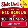 SlotsDevil Banner 100% Welcome Bonus + 10 Free Spins