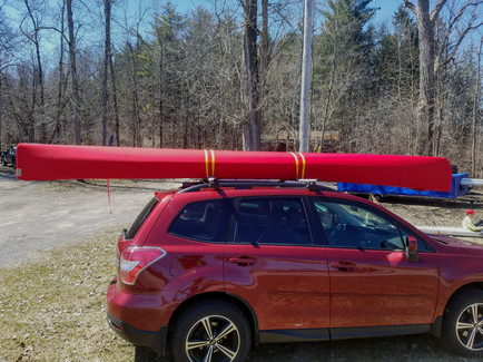 Solid red canoe cover