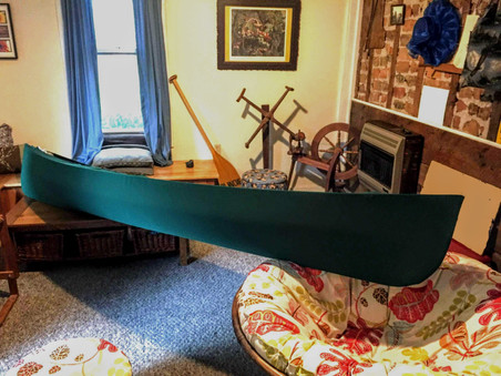 Solid green canoe cover