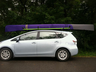 Purple and grey canoe cover