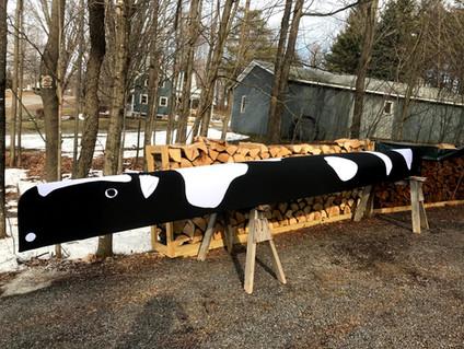 Custom black and white Holstein cow canoe cover