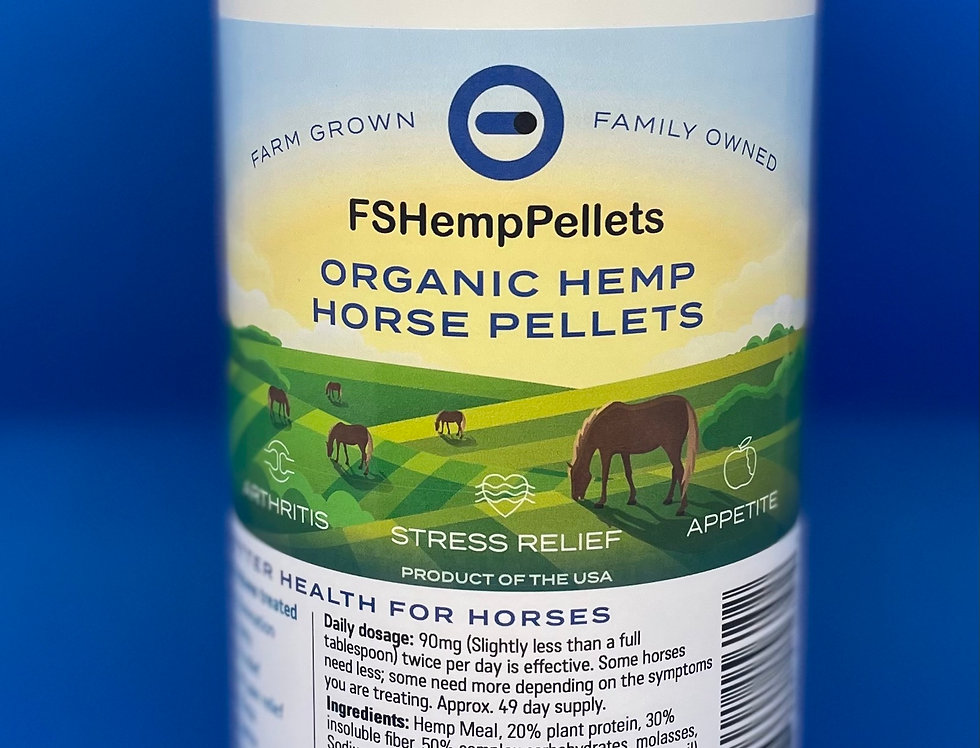 Full Spectrum Organic Hemp Horse Pellets, 6 one pound canisters