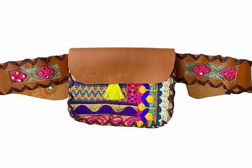 Genuine Leather Waist Bag Thick Belt Camel