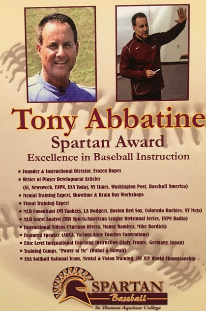 Tony Abbatine receives Spartan Award