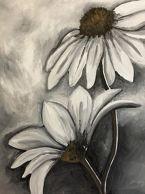 Art to Go! Black and White Flowers