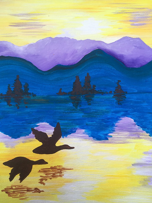 Art to Go! Sunset with Geese.