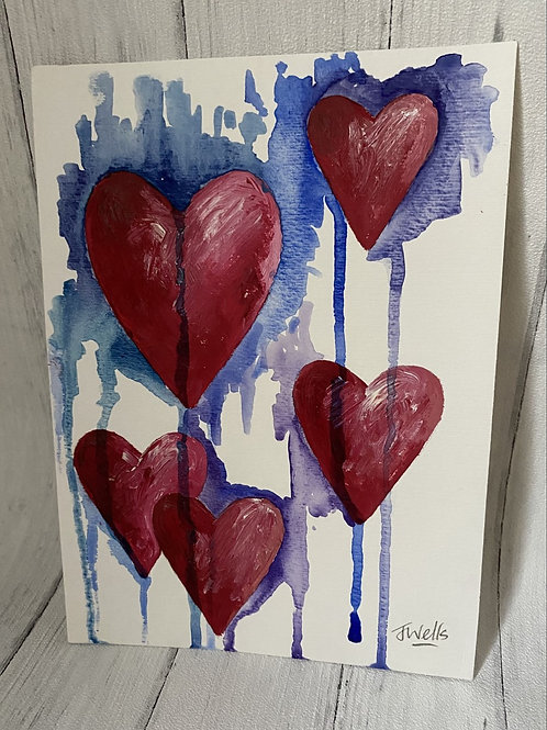 Heart Mixed Media Purple and Blue