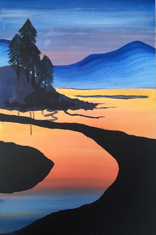 Art to Go! Sunset over river/