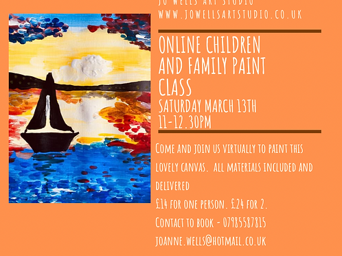 Family and Children Online Painting Class - For 1 person