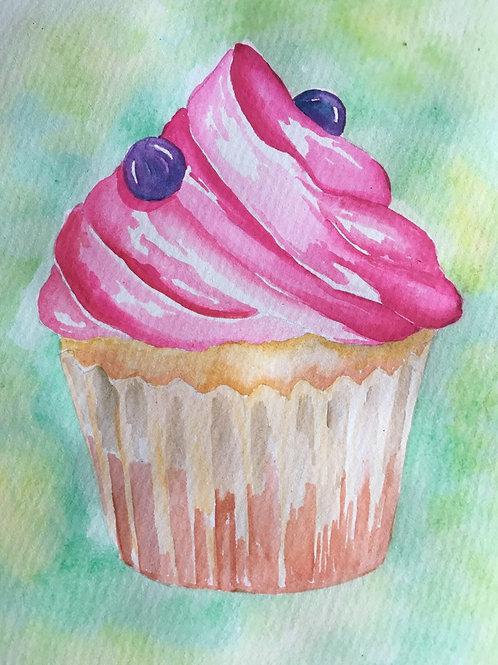 Watercolour Art To Go! Cupcake
