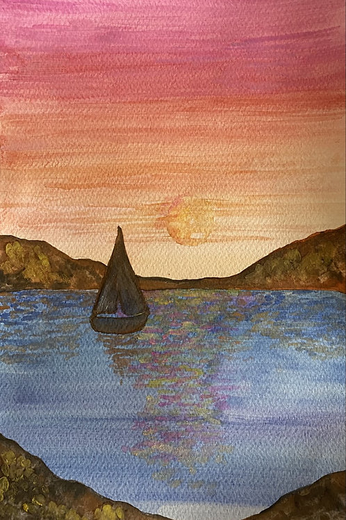 Watercolour Art To Go! LandscapeWith Boat