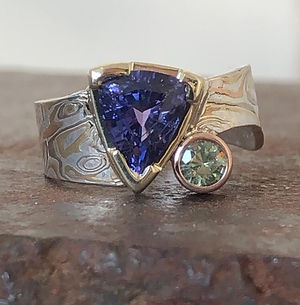 Custom sapphire and diamond gold mokume gane ring