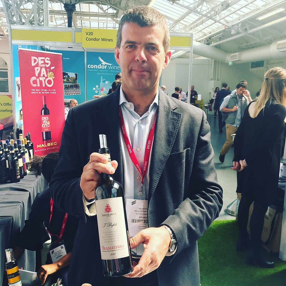 Marco Rizzetti showing his wines at the London Wine Fair, 2018